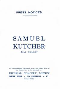 Samuel Kutcher Imperial Concert Agency ~ 1927