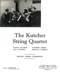 Kutcher String Quartet Press Comments 1936-9