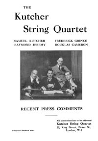 Kutcher String Quartet  Press Comments 1932-3