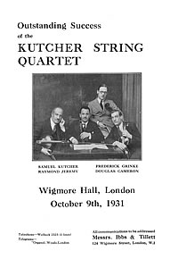 Ibbs and Tillett promotion of the Kutcher String Quartet 1931