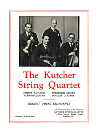 Kutcher String Quartet Press Comments 1933-4