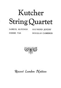 The Kutcher String Quartet 1930 Press Reviews