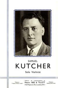 Samuel  Kutcher Solo Violinist, Ibbs and Tillet ~1928